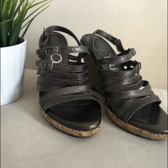 YOU by Crocs Shoes - YOU by Crocs Bronze Leather Wedges